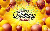 Happy Birthday Vector Illustration With Balloons, Typography And Colorful Falling Confetti On Yellow poster