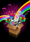 Exploding gift box on black. All elements are layered separately in vector file.