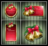 Christmas bells banner vector illustration set.
