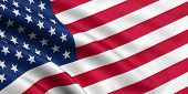 stock photo of usa flag  - 3d rendered waving flag of the USA - JPG