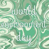 World Environment Day. Energy Sphere Background. Green Concept. Planet Earth. Friendly Cartoon Chara poster