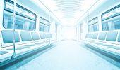 interior of modern light subway train
