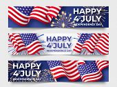 Usa Independence Day. Three Horizontal Banners With Usa Flags. 4th Of July Poster Templates poster