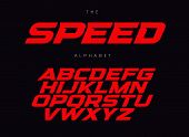 Speed Letters Set. Red Race Font. Italic Bold Racing Style Vector Latin Alphabet. Fonts For Event, P poster
