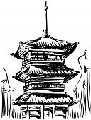 Sketch of Japan Landmark - Kiyomizu Temple poster