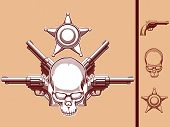 Vintage Wild West Skull, Revolver & Sheriff Badge