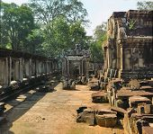Wall of one of the temple complex of Angkor Wat