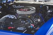 Blue 1970 Pontiac Lemans Sport Engine