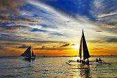 sailing on sunset. amazing Boracay island