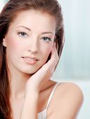 stock photo of beautiful woman face  - Natural health beauty of a woman face  - JPG