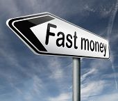 fast easy money quick extra cash make a fortune online income road sign arrow