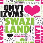 Eu amo a África Suazilândia tipografia perfeita base padrão em vetor