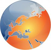Map Of Europe On Sphere  Illustration poster
