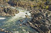 Kayaking At Great Falls Park Near Waterfalls
