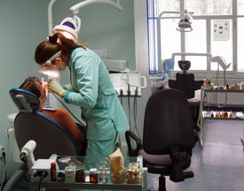 pic of medical office  - doctor and patient in stomatological office - JPG