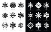 Kerstmis of winter sneeuwvlokken vector iconen