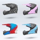 set abstract motorcycle helmets