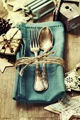 picture of christmas meal  - Christmas table place setting with christmas decorations - JPG