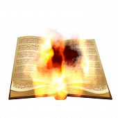 image of fantail  - Abstract opened burning book on white background - JPG