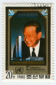 NORTH KOREA - CIRCA 1980: A stamp printed in North Korea shows image of the Dag Hjalmar Agne Carl Hammarskjold was a Swedish diplomat, economist, and author, circa 1980.