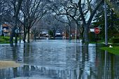 stock photo of flood  - Deep Flood Water in Residential Area - JPG