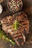stock photo of ribeye steak  - Grilled BBQ T - JPG