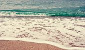 Beach  Sand Background. Wave And Sand Border, Retro Colors