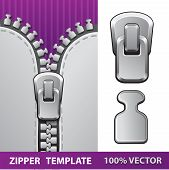 Silver zipper realistic vector illustration