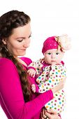 Happy Mom And Child Girl Hugging Isolate On White Background. The Concept Of Childhood And Family. B