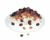 stock photo of piccolo  - Coffee Time An Illustration Various Colors of Roasted Coffee Beans Stack Isolated on A Beautiful White Dish - JPG