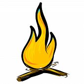 Bonfire simple cartoon doodle image