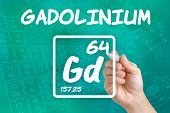 Hand drawing the symbol for the chemical element gadolinium