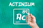 Hand drawing the symbol for the chemical element actinium