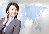 Business Woman Operator With Asia Map