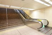 The Escalator Moving At A Metro Railway Station