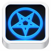 picture of pentagram  - Pentagram sign luminous square shape application icon - JPG