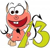 Cheerful devil with the number thirteen