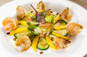 Prawn Salad With Mango, Smock Salmon, Cucumber, Balsamic Vinegar And Toasted  Sesame Seeds