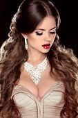 Brown Hair. Fashion Girl Model. Beautiful Woman With Brown Wavy Long Hair. Jewelry. Hot Lips.
