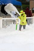 Machine Pours Out Bubbles And Foam At Race Finish Line