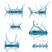 High resolution Water splashes collection over white background