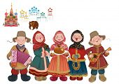 Cartoon people in traditional costume with musical instruments (balalaika and accordion) are welcome