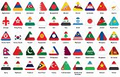 Triangle Icons With Asian Flags