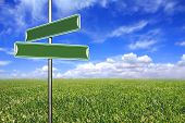 Blank Directional Signs In An Open Field