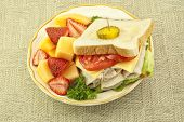Fresh Turkey Sandwich And Fruit