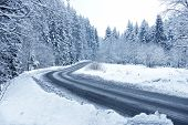 stock photo of snowy-road  - Winter Forest Road  - JPG