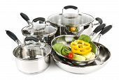 Stainless Steel Pots And Pans With Vegetables