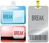 Break. Id cards. Raster illustration.