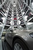 MOSCOW - JAN 11: Bottom view in the tower to store cars in Volkswagen Center Varshavka with a Volksw