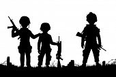 Illustrated silhouettes of three children dressed as soldiers